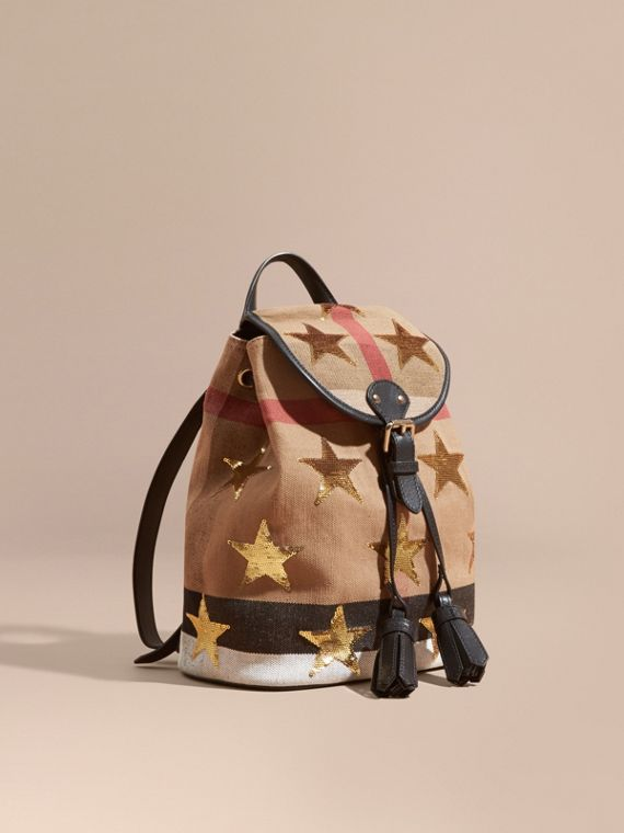 Canvas Check Mini Backpack with Sequin Stars