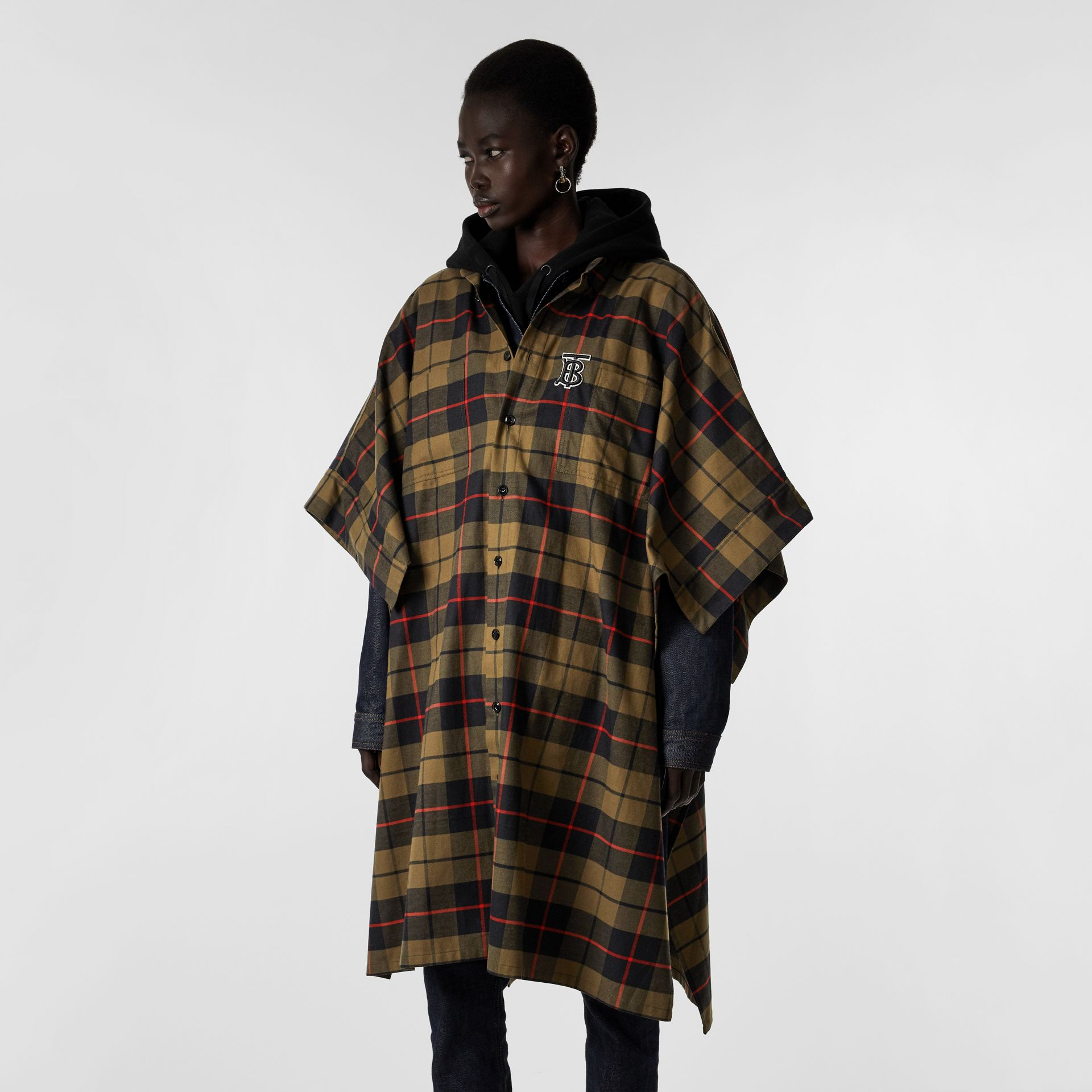 Monogram Motif Check Cotton Oversized Poncho in Military Olive | Burberry - gallery image 5