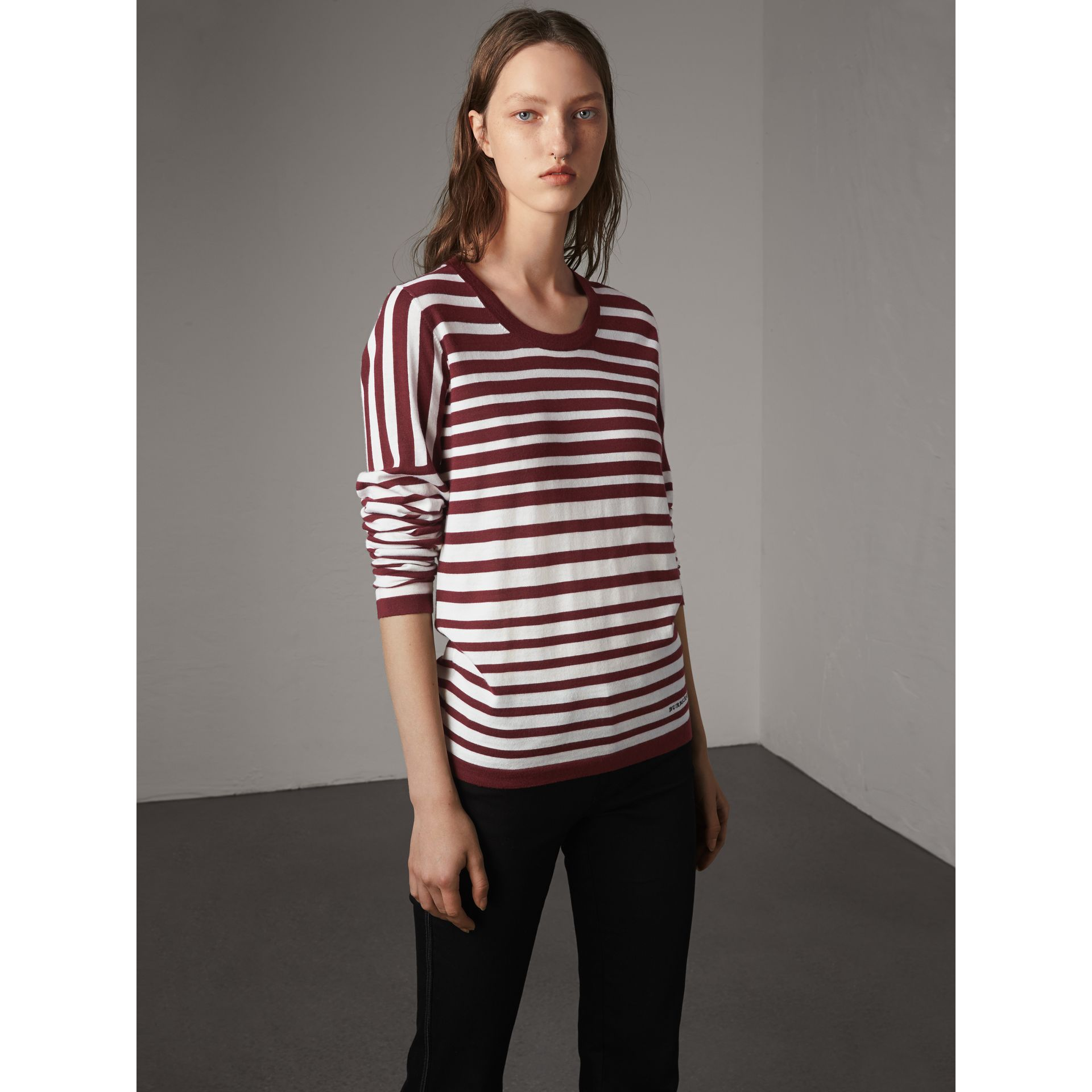 Graduated Stripe Merino Wool Sweater in Russet/natural White - Women | Burberry - gallery image 5