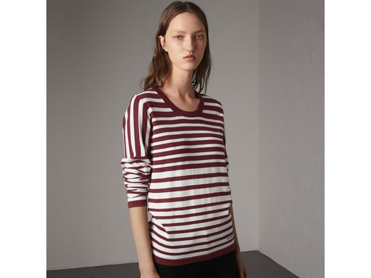Graduated Stripe Merino Wool Sweater in Russet/natural White - Women | Burberry - cell image 4
