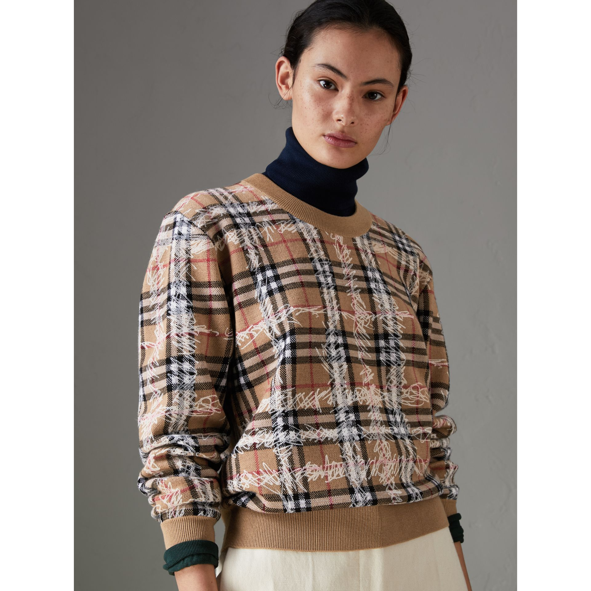 Scribble Check Merino Wool Sweater in Camel/white - Women | Burberry Singapore - gallery image 4