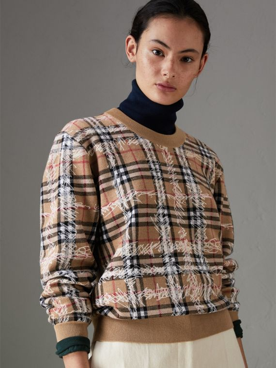 Scribble Check Merino Wool Sweater in Camel/white