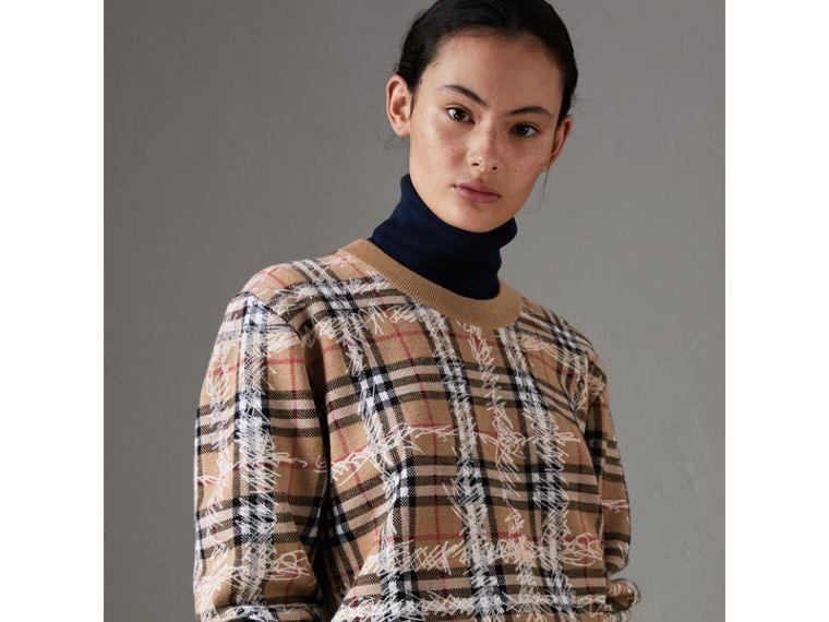 Scribble Check Merino Wool Sweater in Camel/white - Women | Burberry Singapore - cell image 4