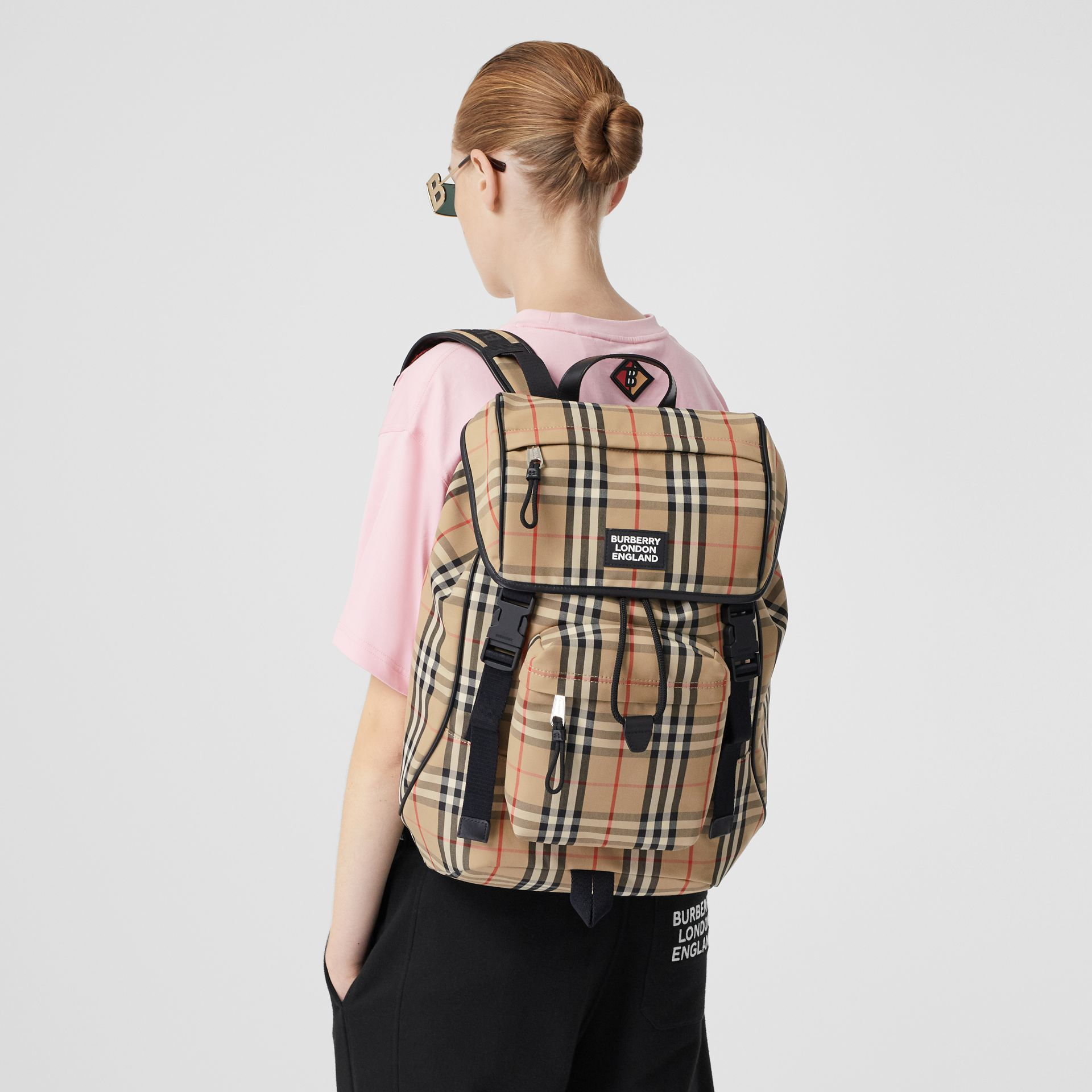 Logo Detail Vintage Check Backpack in Archive Beige | Burberry United Kingdom - gallery image 2