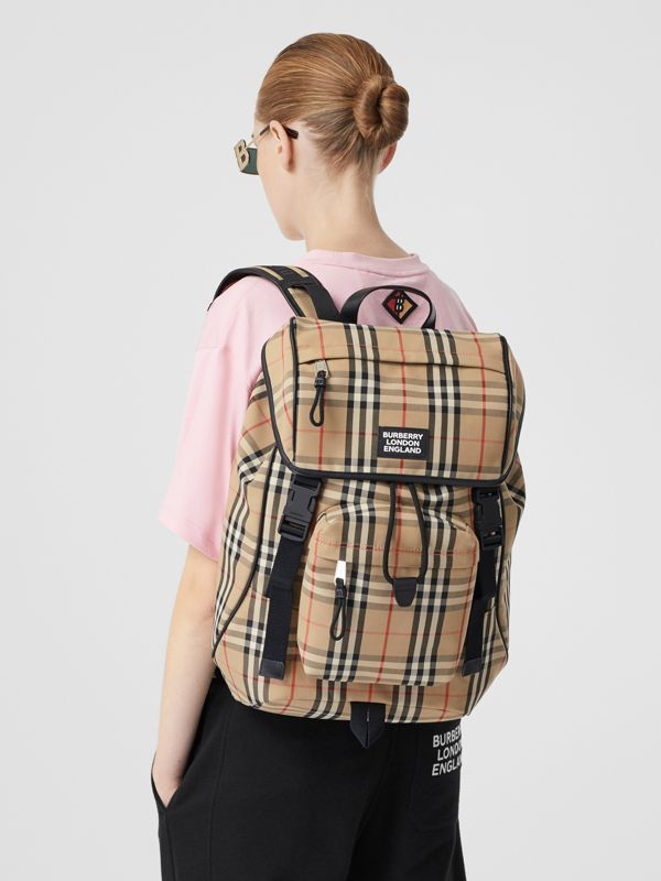 Logo Detail Vintage Check Backpack in Archive Beige | Burberry United Kingdom - cell image 2