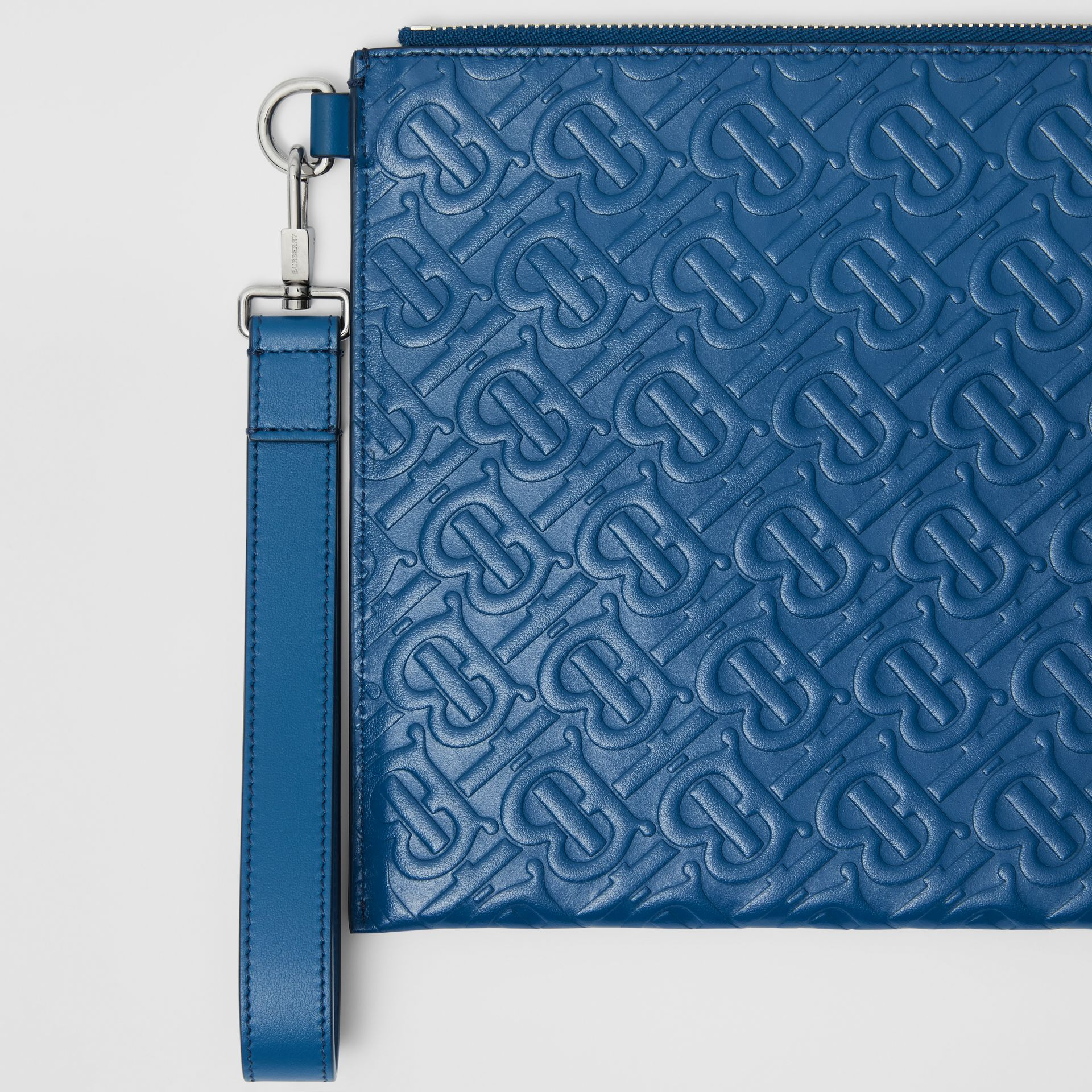 Monogram Leather Zip Pouch in Pale Canvas Blue | Burberry United States - gallery image 1
