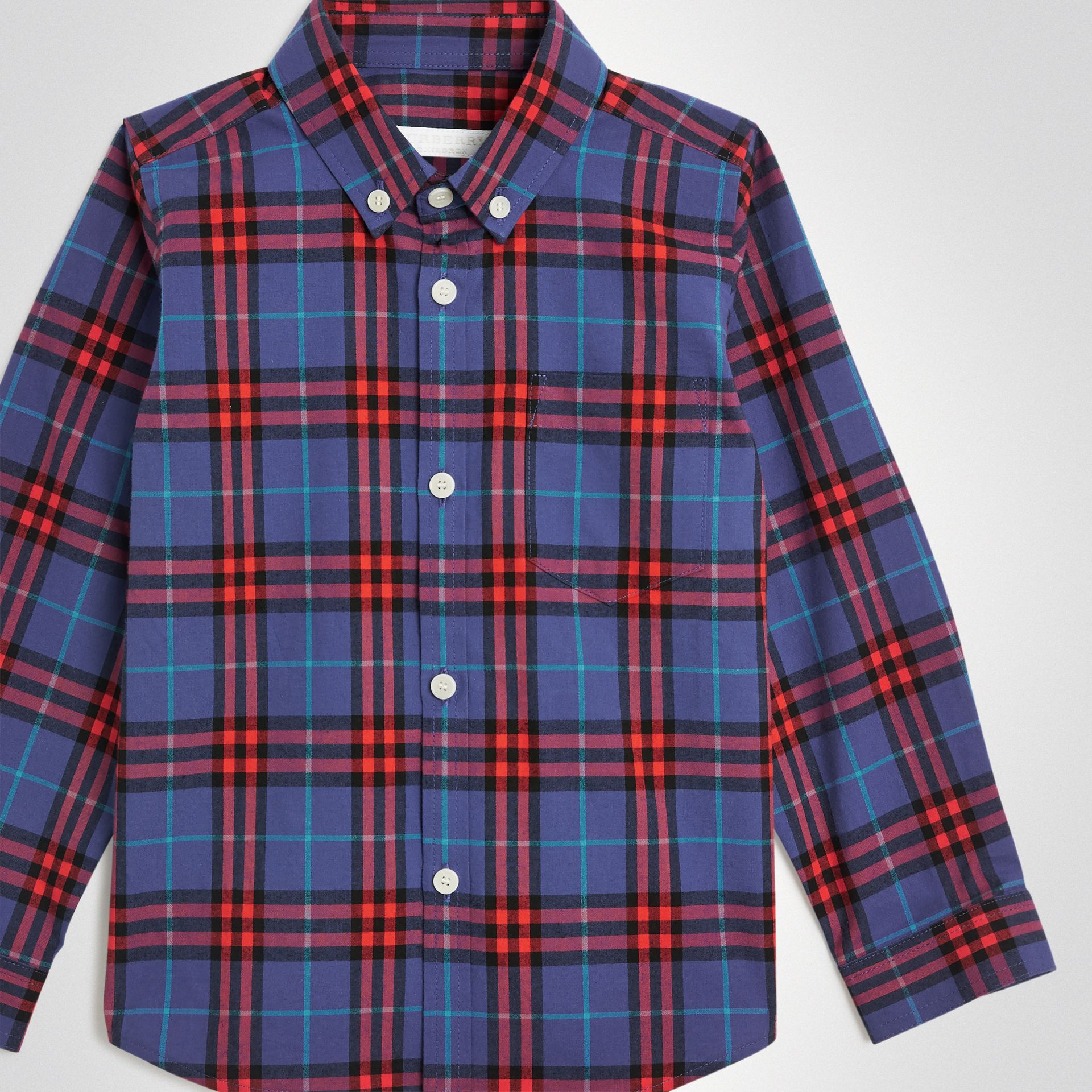 Button-down Collar Check Flannel Shirt in Sapphire Blue | Burberry - gallery image 4