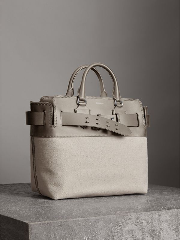 The Medium Canvas and Leather Belt Bag in Grey/stone - Women | Burberry United States - cell image 3