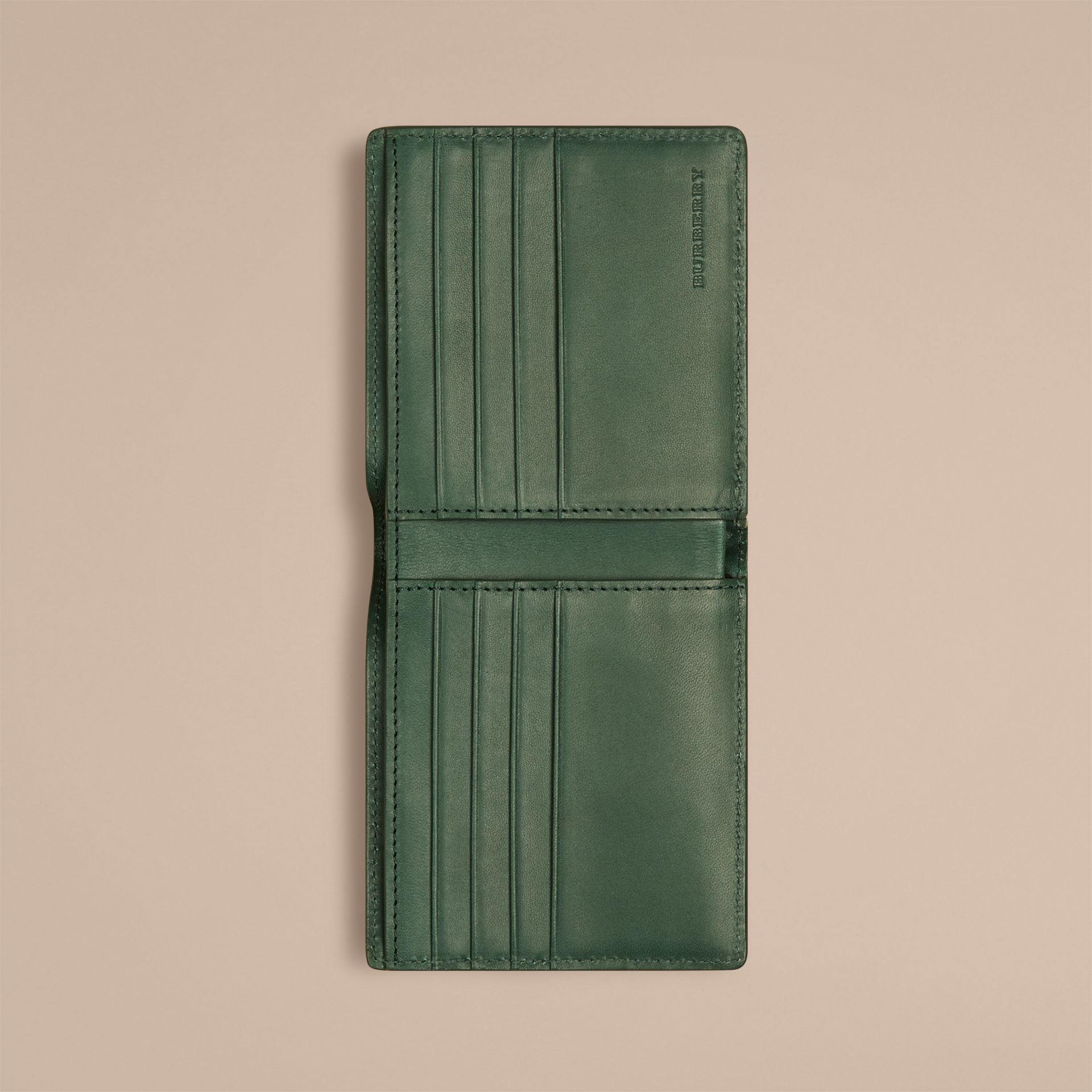 Bright forest green Check-embossed Leather Folding Wallet - gallery image 2