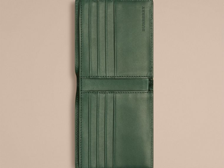 Bright forest green Check-embossed Leather Folding Wallet Bright Forest Green - cell image 1