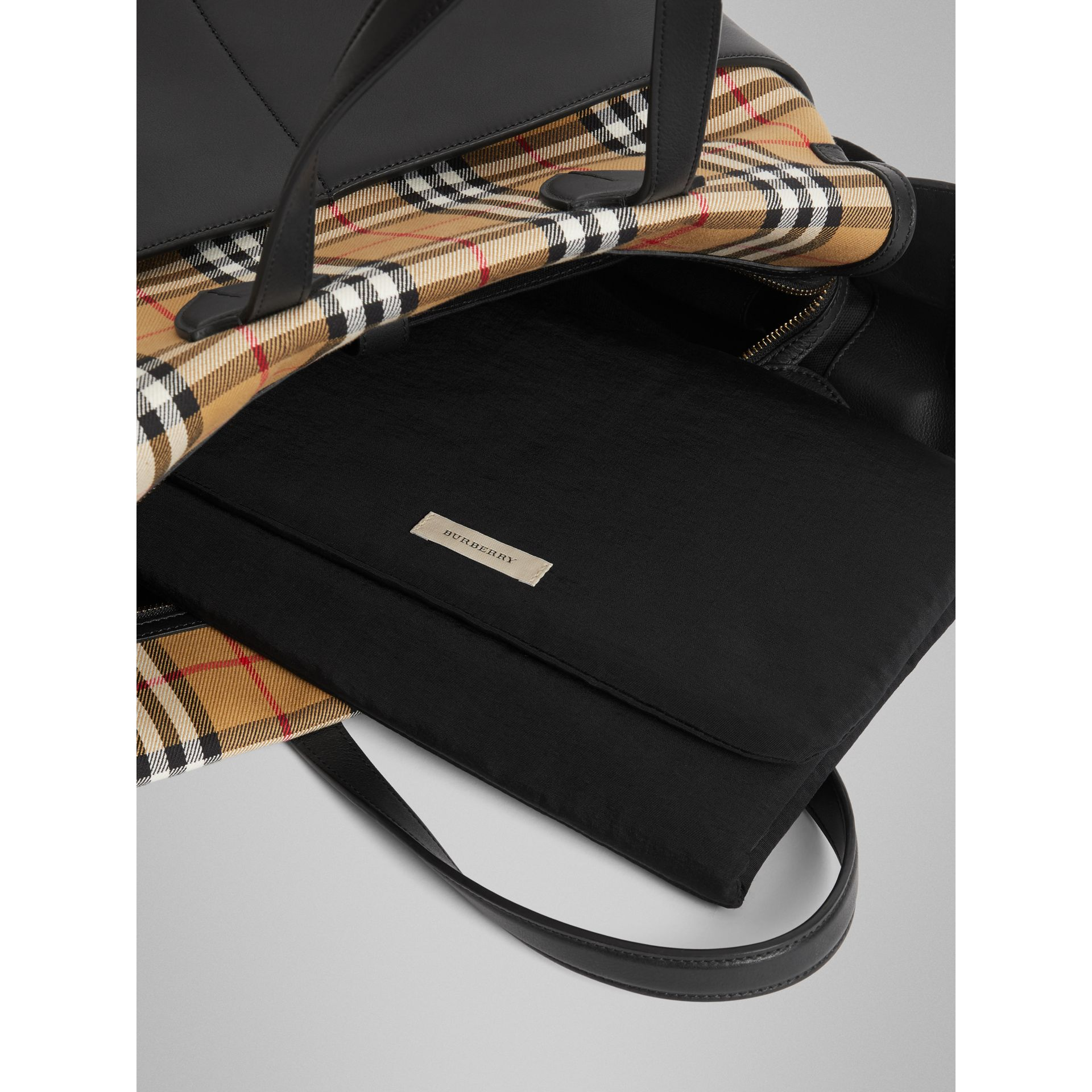 Vintage Check and Leather Baby Changing Tote in Black - Children | Burberry - gallery image 3