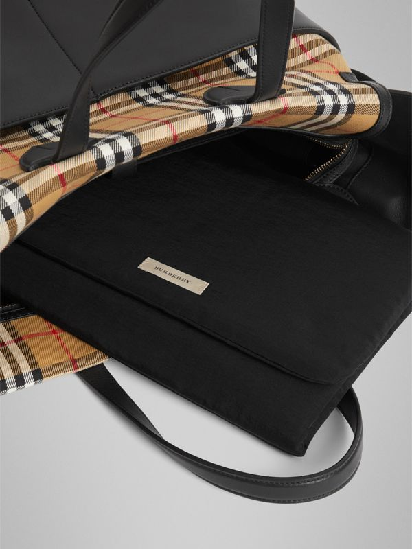 Vintage Check and Leather Baby Changing Tote in Black - Children | Burberry - cell image 3
