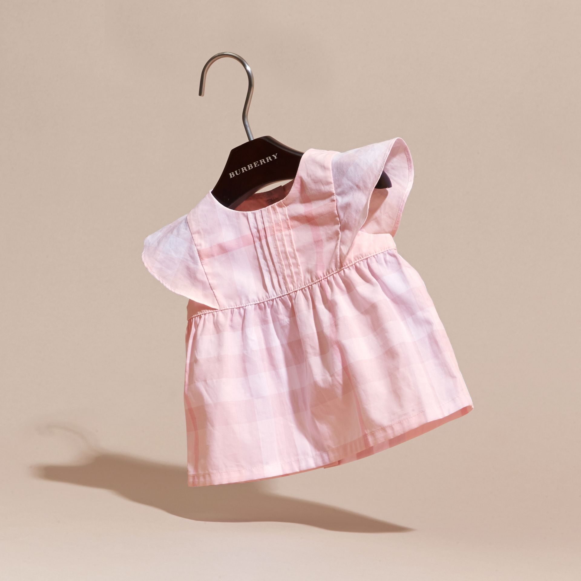 Check Cotton Pin Pleat Top and Bloomers in Ice Pink | Burberry - gallery image 3