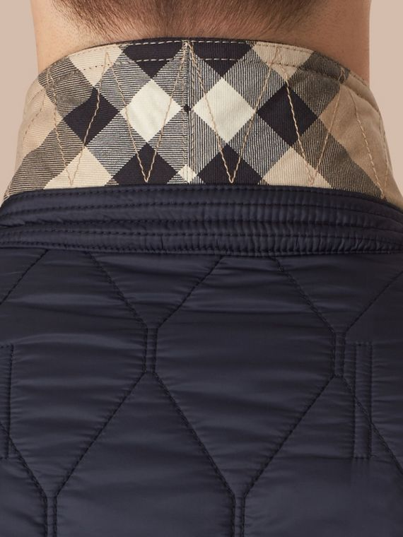 Navy Lambskin Trim Quilted Blazer - cell image 3
