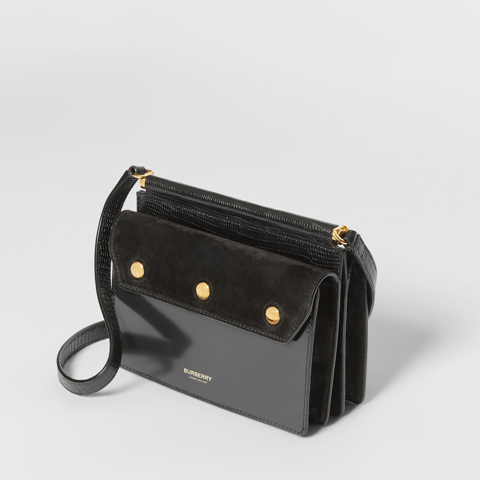 Mini Suede and Leather Title Bag with Pocket Detail in Black - Women | Burberry United Kingdom - gallery image 2