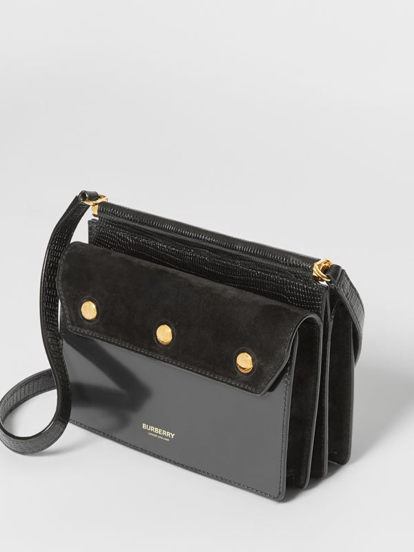Mini Suede and Leather Title Bag with Pocket Detail in Black - Women | Burberry United Kingdom - cell image 2