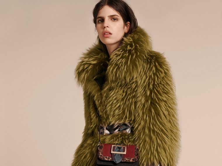 Bright yellow olive Oversize Raccoon Coat with Snakeskin Details - cell image 4