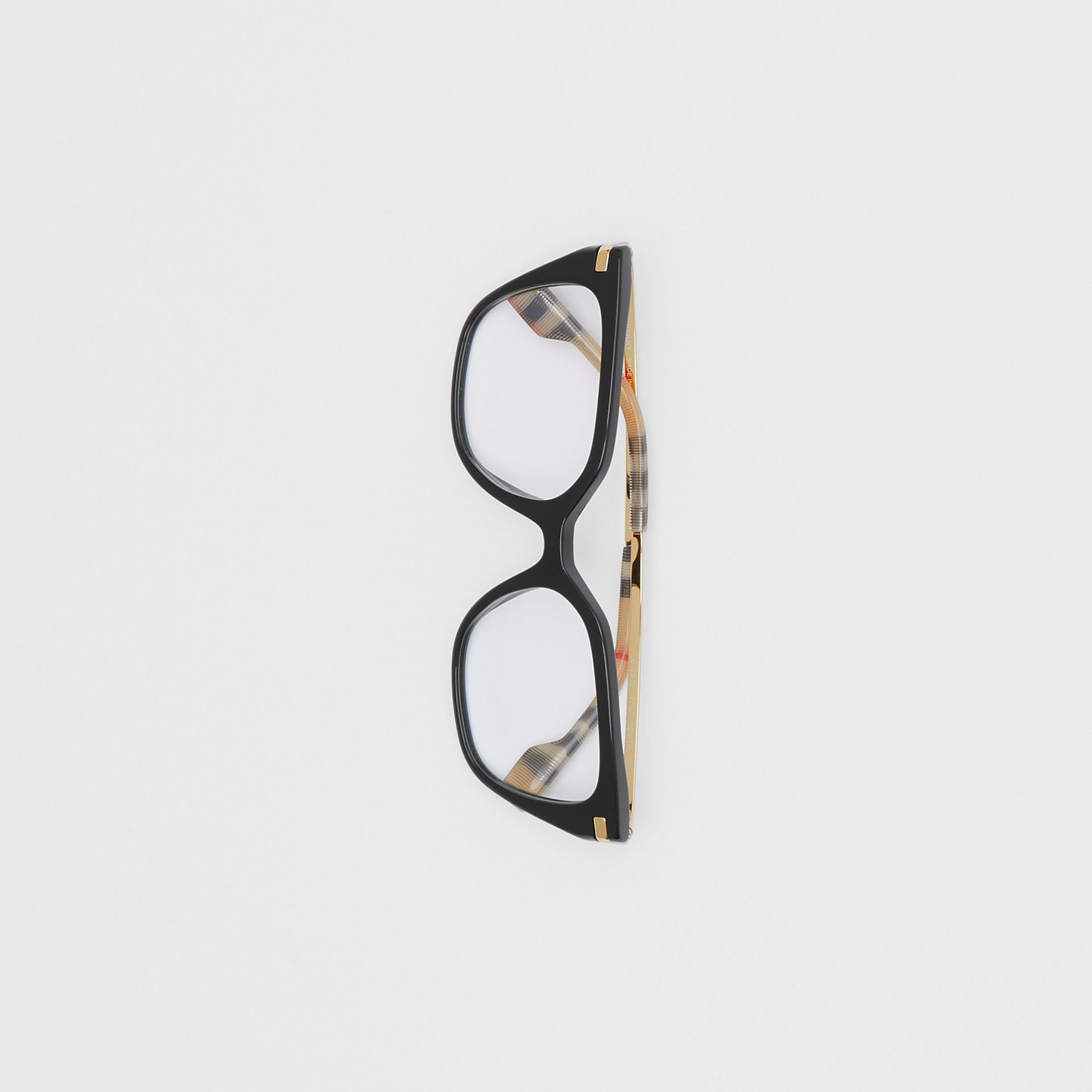 Vintage Check Detail Square Optical Frames in Black/archive Beige - Women | Burberry Canada - gallery image 2