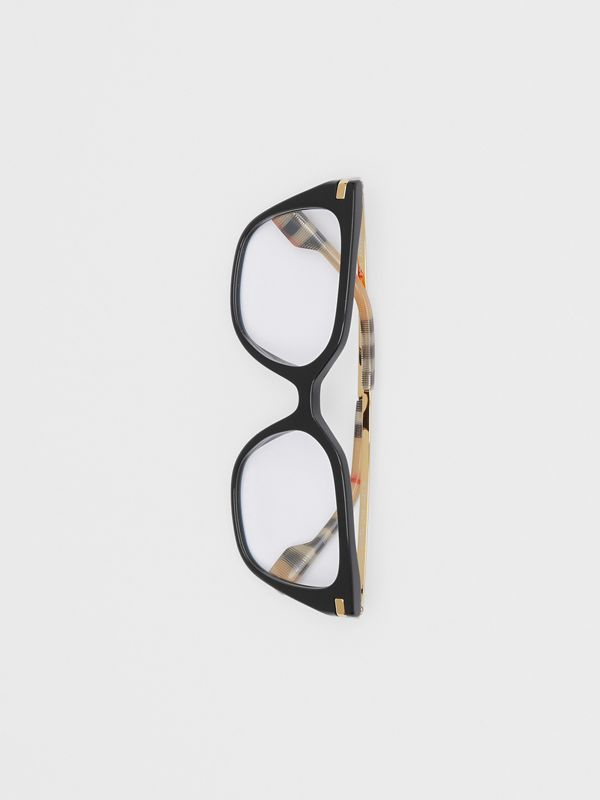 Vintage Check Detail Square Optical Frames in Black/archive Beige - Women | Burberry Canada - cell image 2