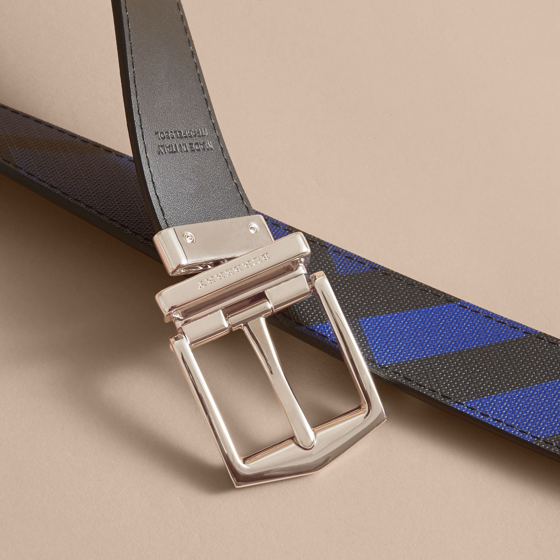 Reversible London Check and Leather Belt Bright Lapis/black - gallery image 5