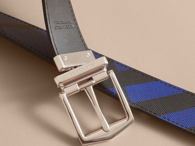 Reversible London Check and Leather Belt Bright Lapis/black - cell image 4