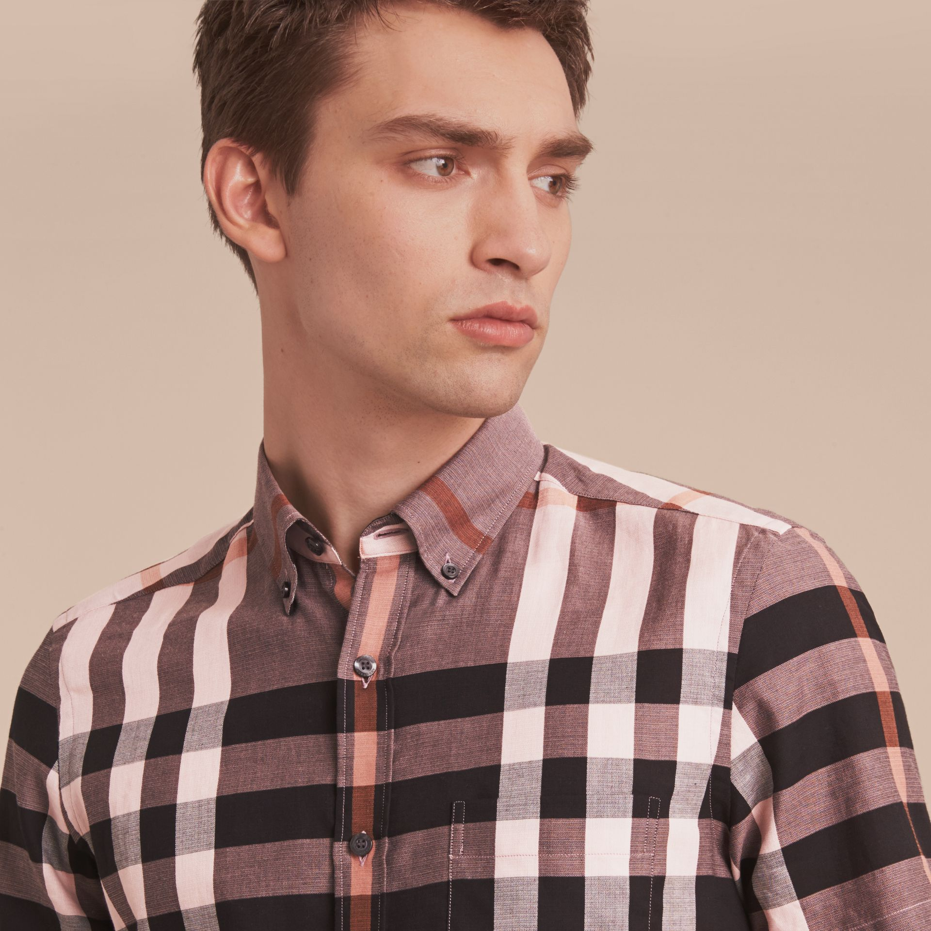 Button-down Collar Short-sleeve Check Cotton Shirt in Antique Rose - gallery image 5