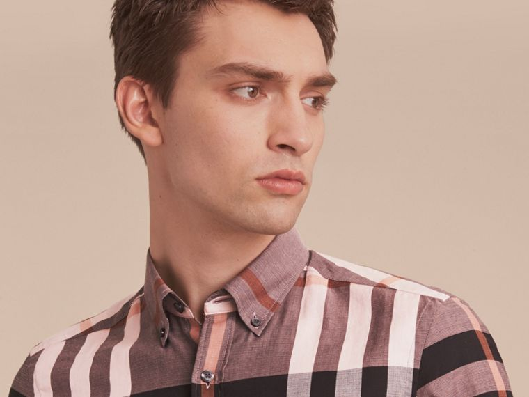 Button-down Collar Short-sleeve Check Cotton Shirt in Antique Rose - cell image 4