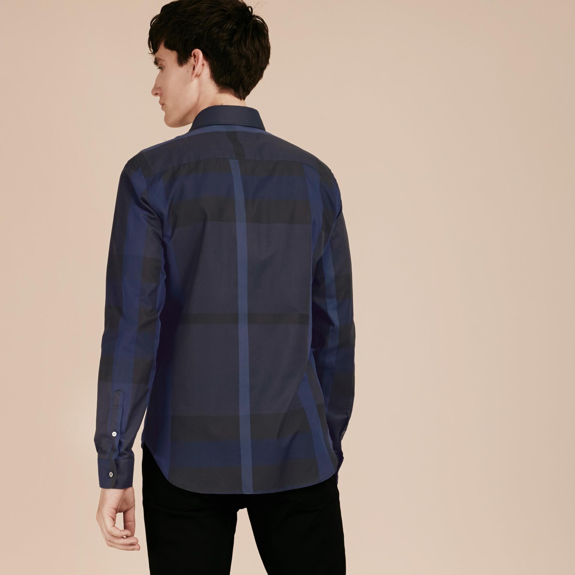 Azul marinho Camisa de algodão com estampa xadrez Azul Marinho - galeria de imagens 3