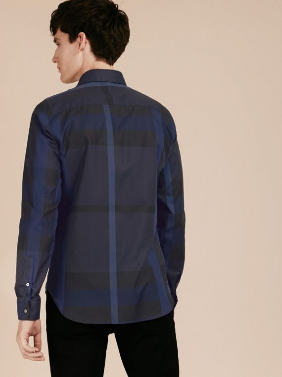 Navy Check Cotton Shirt Navy - cell image 2
