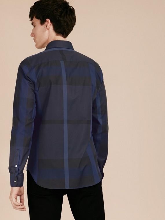 Azul marino Camisa en algodón con estampado de checks Azul Marino - cell image 2