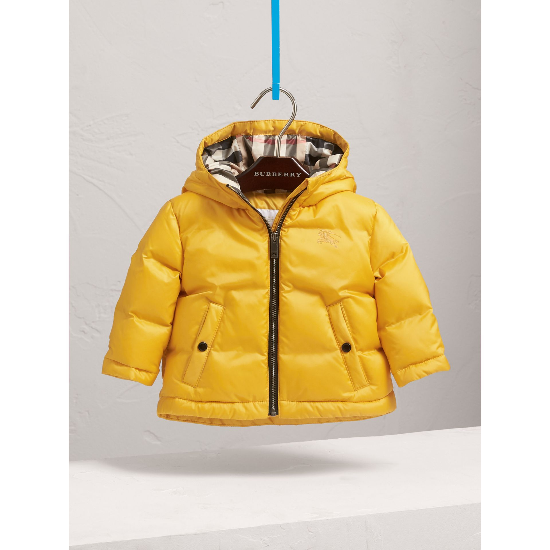 Down-filled Hooded Puffer Jacket in Larch Yellow | Burberry - gallery image 3