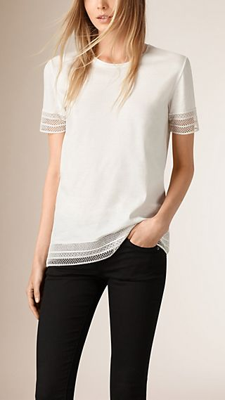 Lace Trim Cotton Top