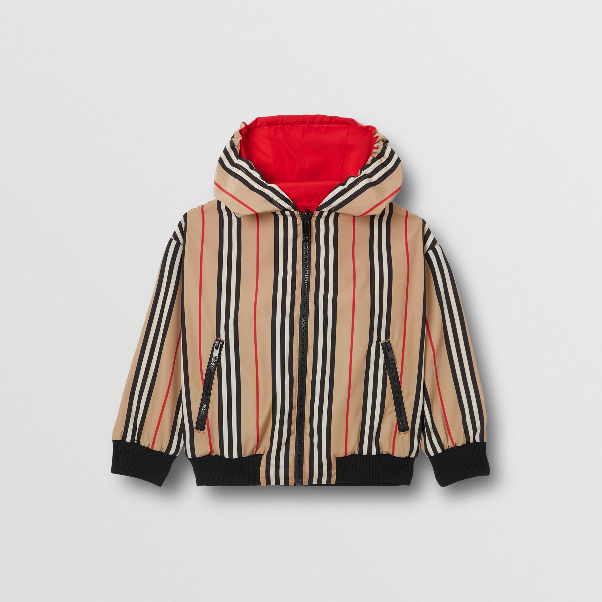 Reversible Icon Stripe Hooded Jacket in Bright Red | Burberry Australia - gallery image 0