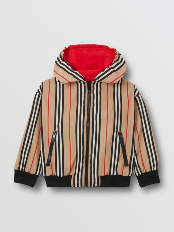 Reversible Icon Stripe Hooded Jacket in Bright Red