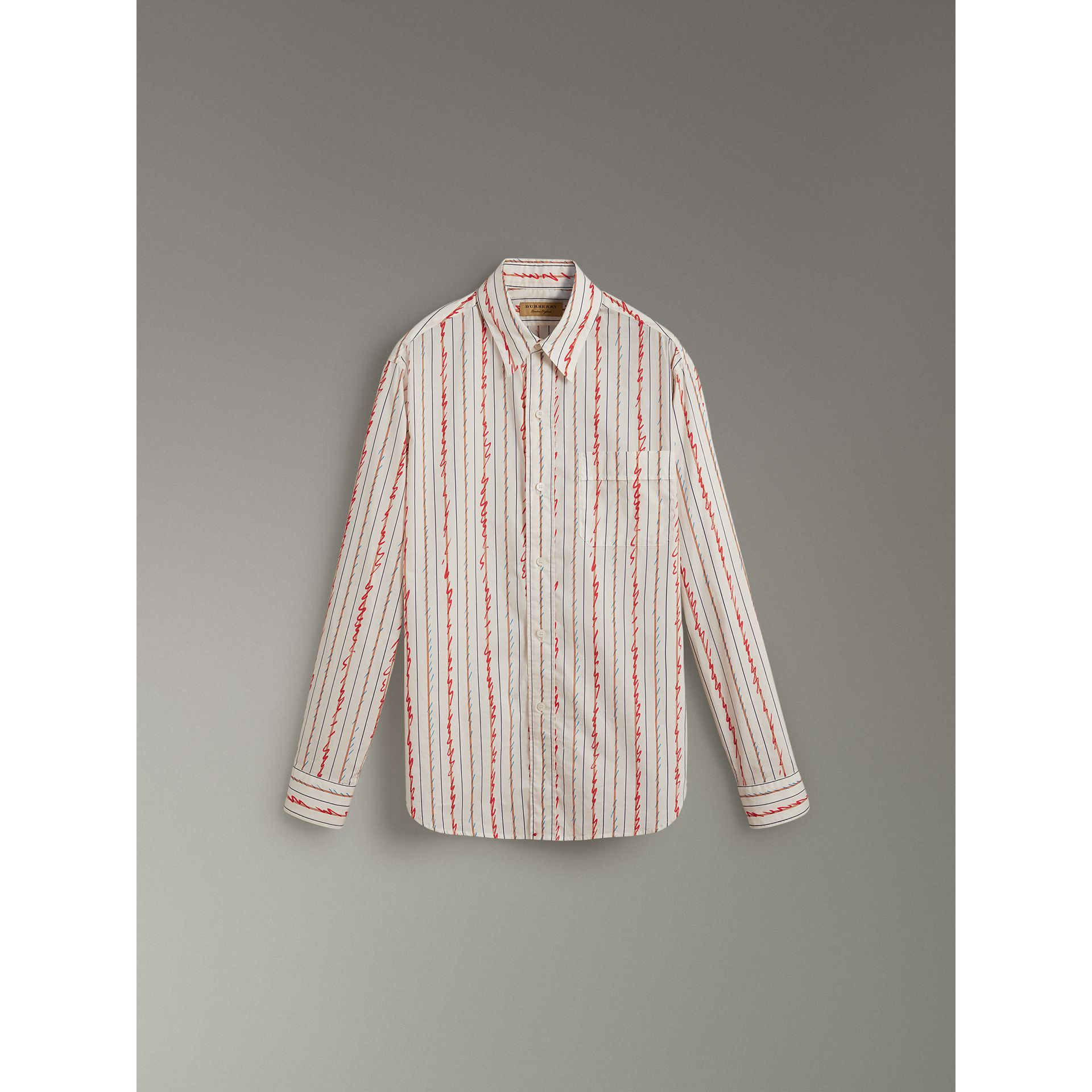 Scribble Stripe Cotton Shirt in Red - Men | Burberry - gallery image 3