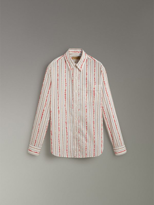 Scribble Stripe Cotton Shirt in Red - Men | Burberry - cell image 3