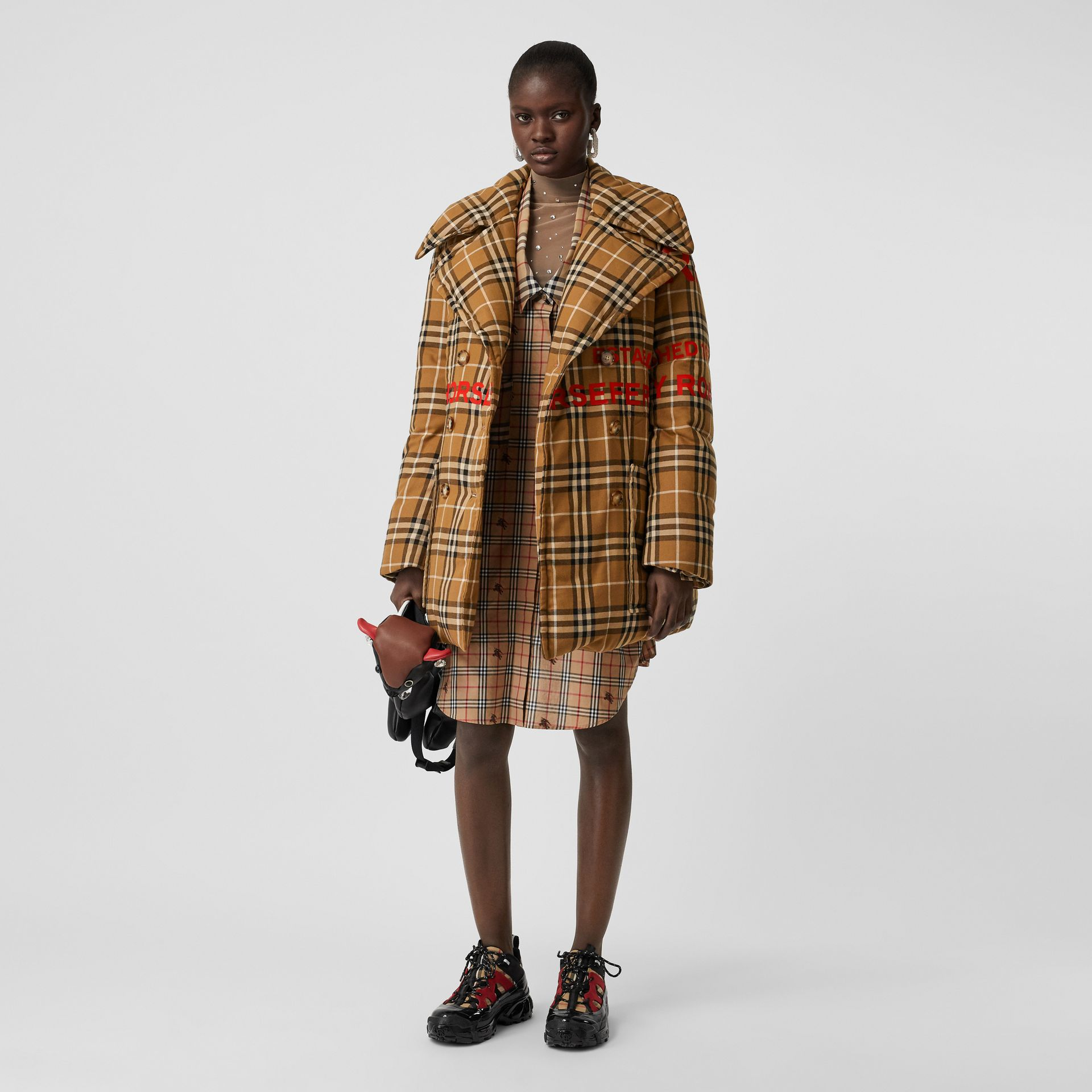 Horseferry Print Check Down-filled Oversized Pea Coat in Warm Walnut - Women | Burberry Singapore - gallery image 0