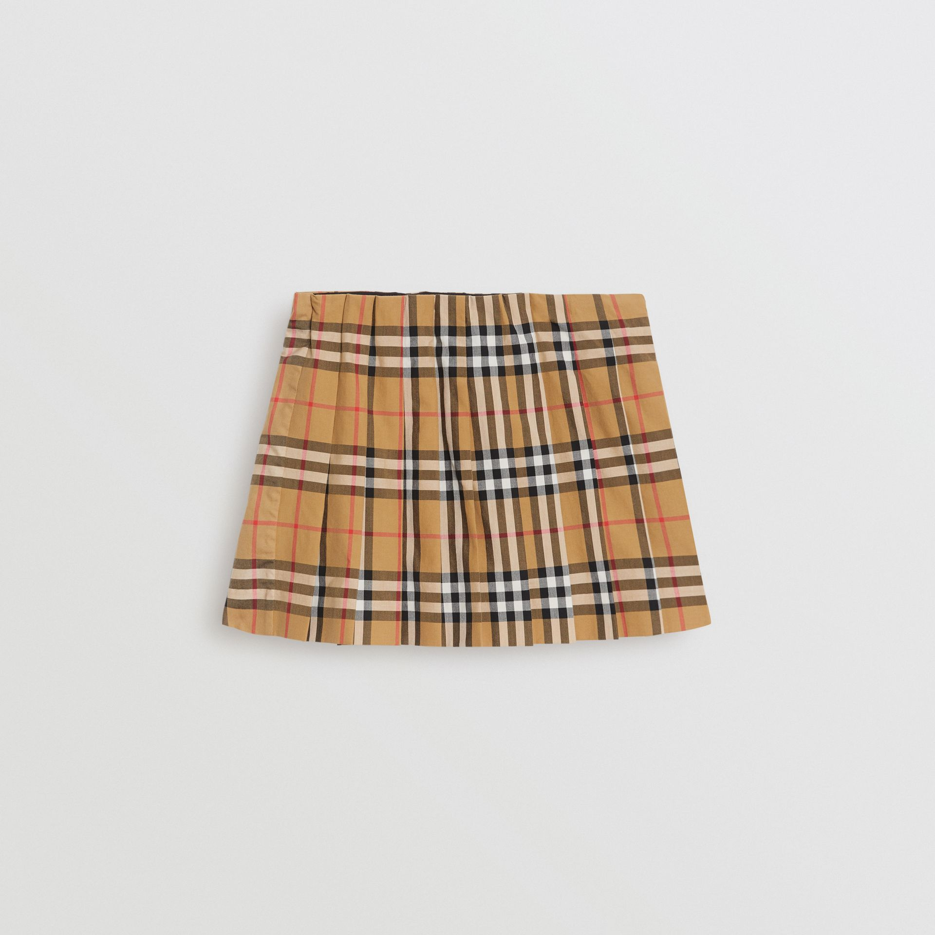 Vintage Check Pleated Skirt in Antique Yellow | Burberry - gallery image 0