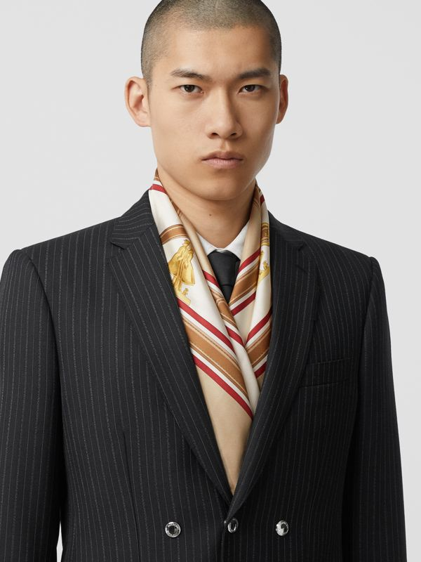 Archive Scarf Print Silk Square Scarf in Pale Camel | Burberry - cell image 3