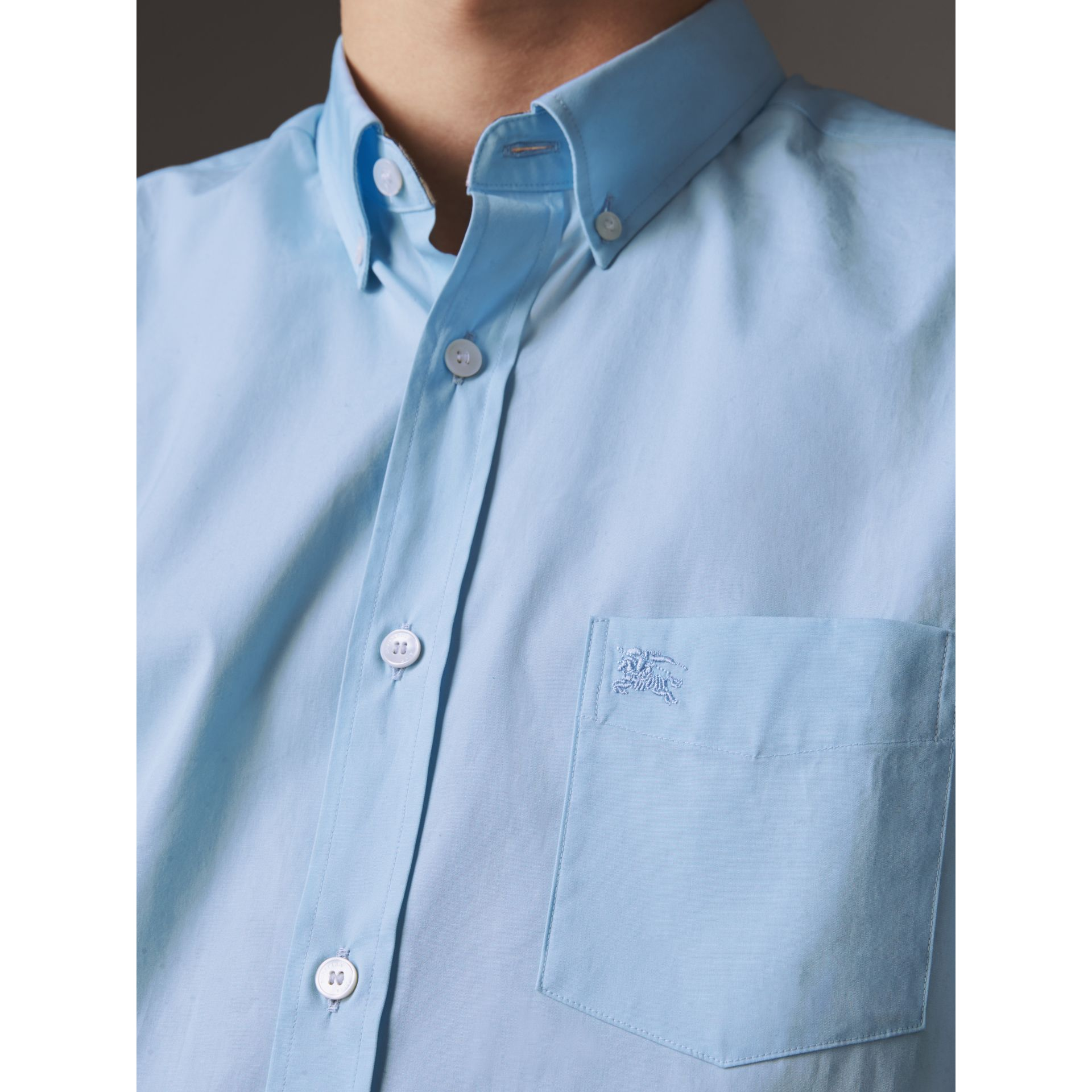 Short-sleeved Stretch Cotton Poplin Shirt in Pale Blue - Men | Burberry - gallery image 2
