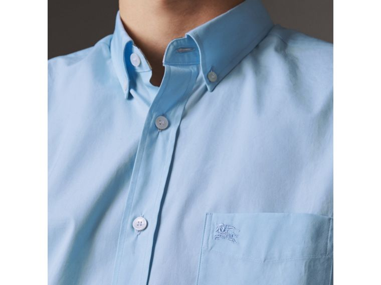 Short-sleeved Stretch Cotton Poplin Shirt in Pale Blue - Men | Burberry Hong Kong - cell image 1