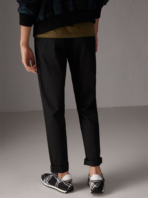 Slim Fit Cotton Chinos in Black - Men | Burberry Australia - cell image 2