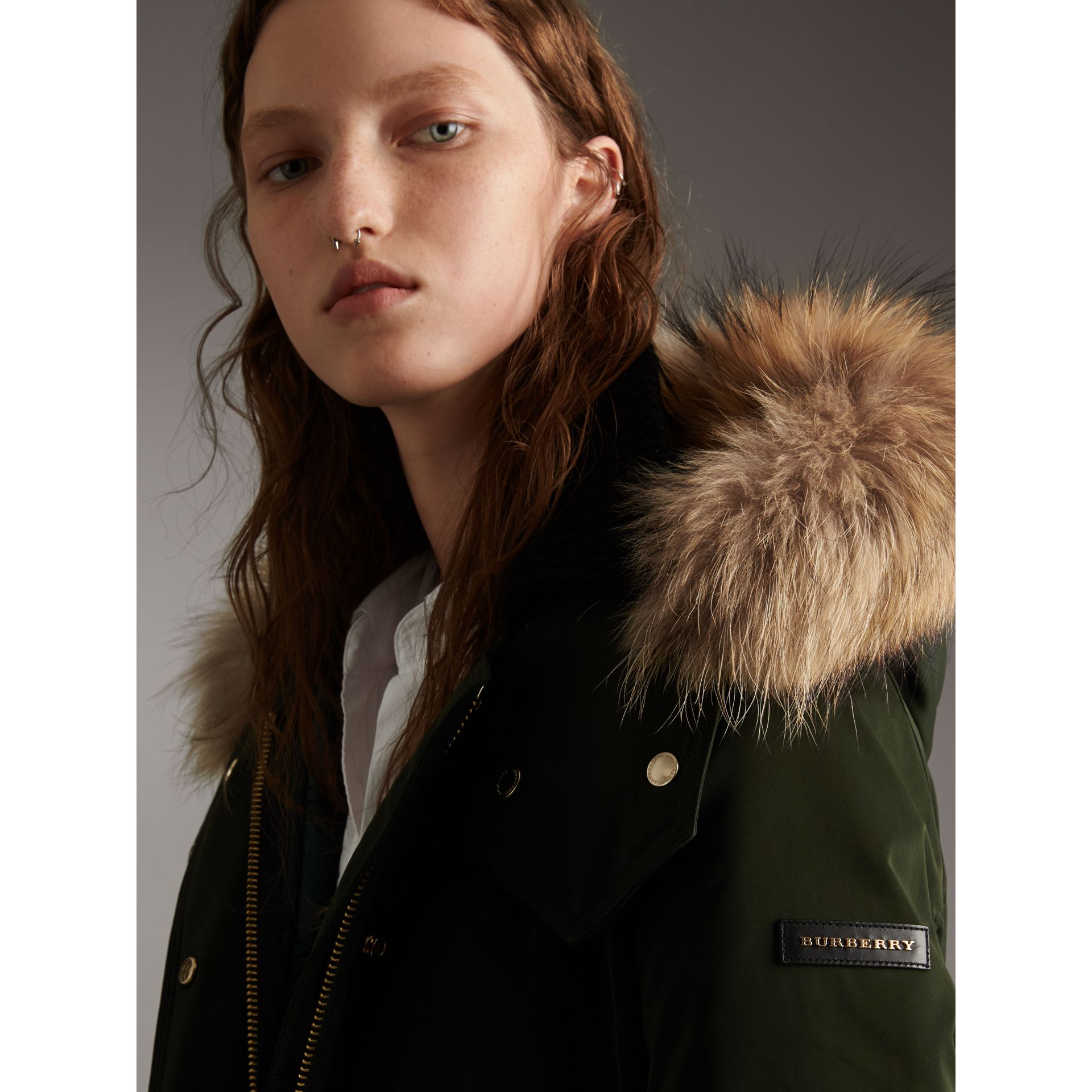 Down-filled Parka Coat with Detachable Fur Trim in Dark Cedar Green - Women | Burberry - gallery image 2