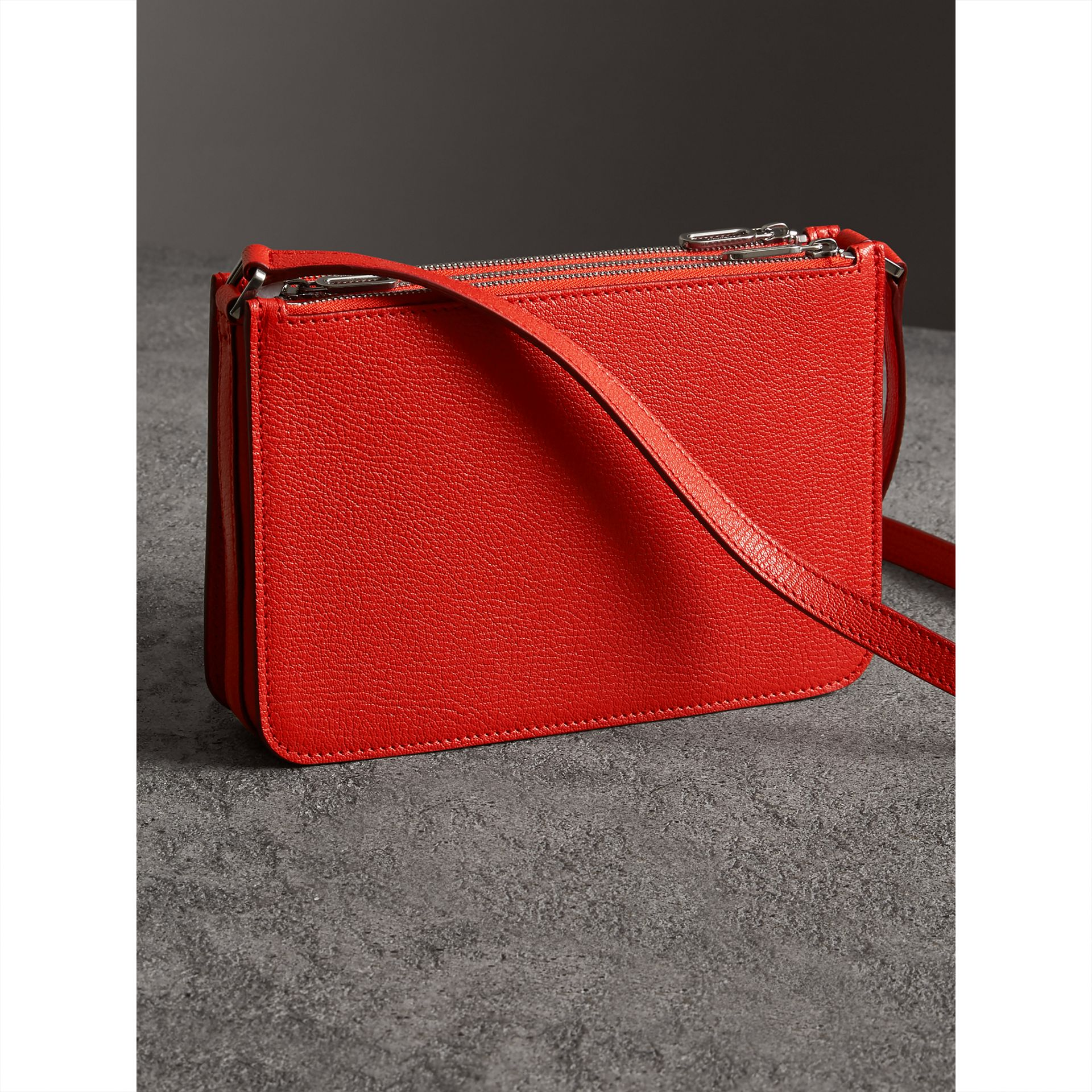 Triple Zip Grainy Leather Crossbody Bag in Bright Red - Women | Burberry United Kingdom - gallery image 4