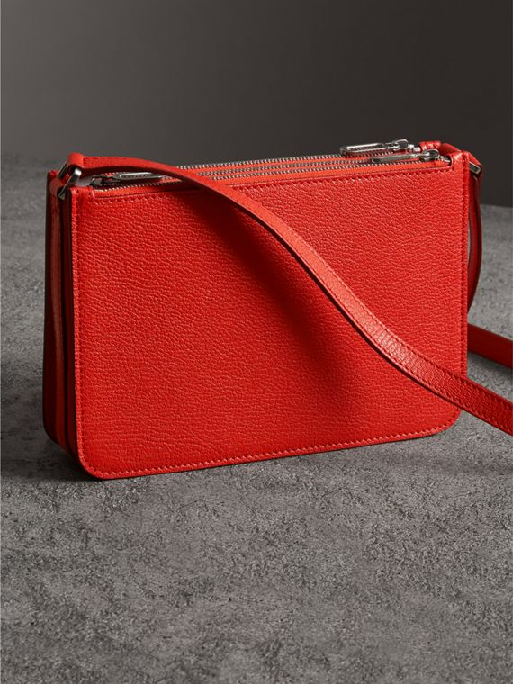 Triple Zip Grainy Leather Crossbody Bag in Bright Red - Women | Burberry Canada - cell image 2