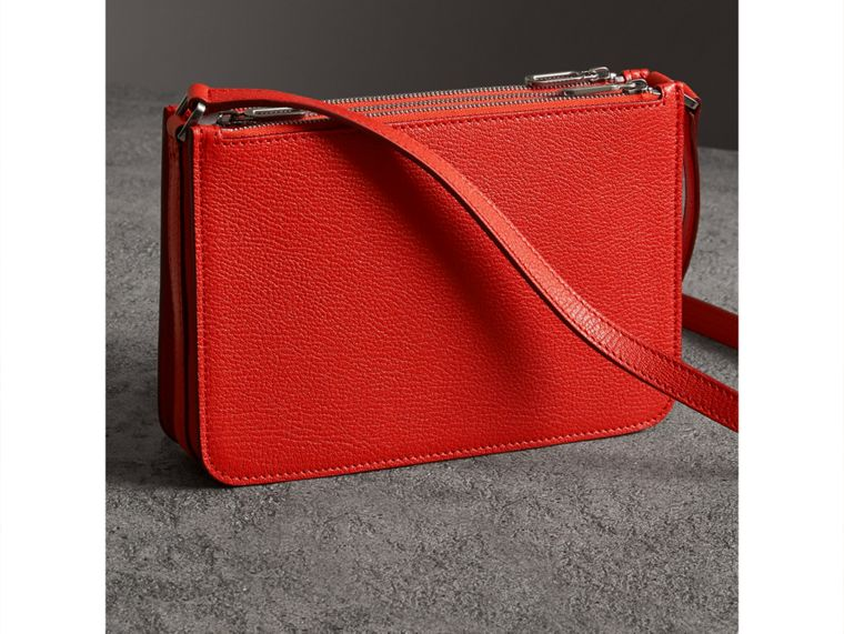 Triple Zip Grainy Leather Crossbody Bag in Bright Red - Women | Burberry - cell image 4