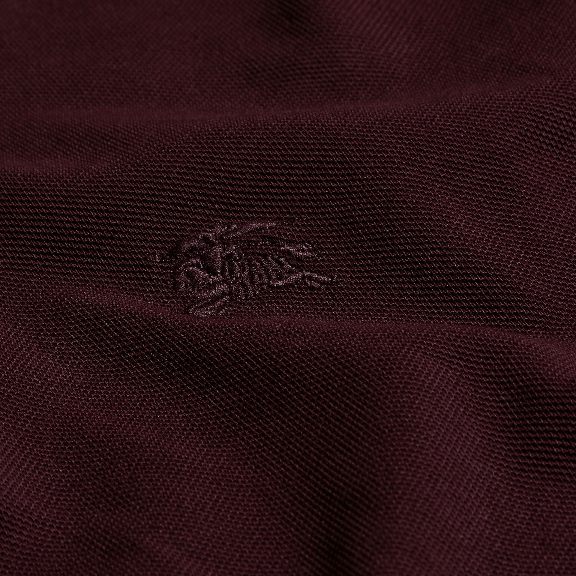 Deep claret Colour-block Cotton Piqué Polo Shirt Deep Claret - gallery image 2