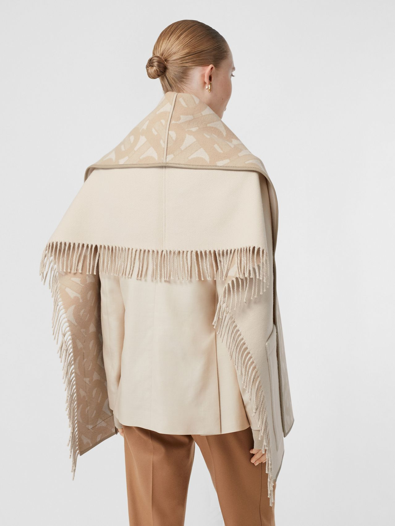 Monogram Merino Wool Cashmere Jacquard Cape in Soft Fawn