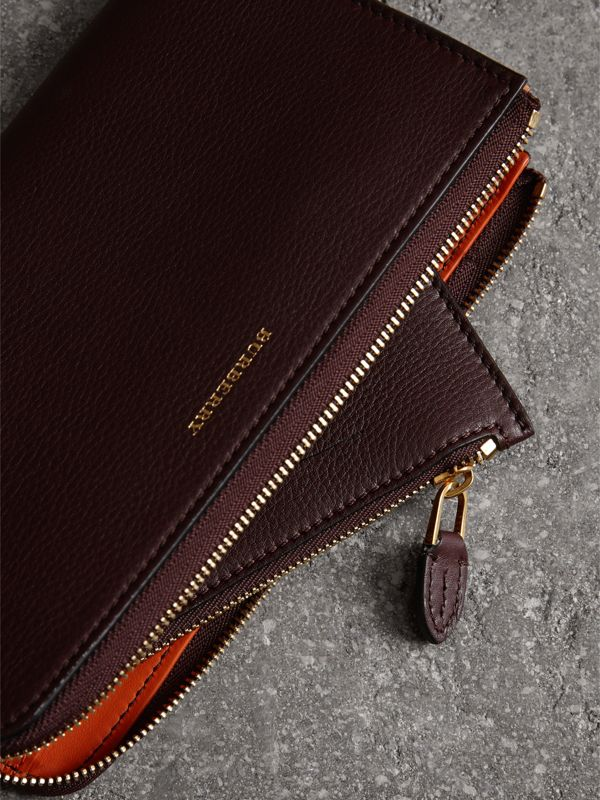 Two-tone Leather Ziparound Wallet and Coin Case in Deep Claret - Women | Burberry Canada - cell image 3