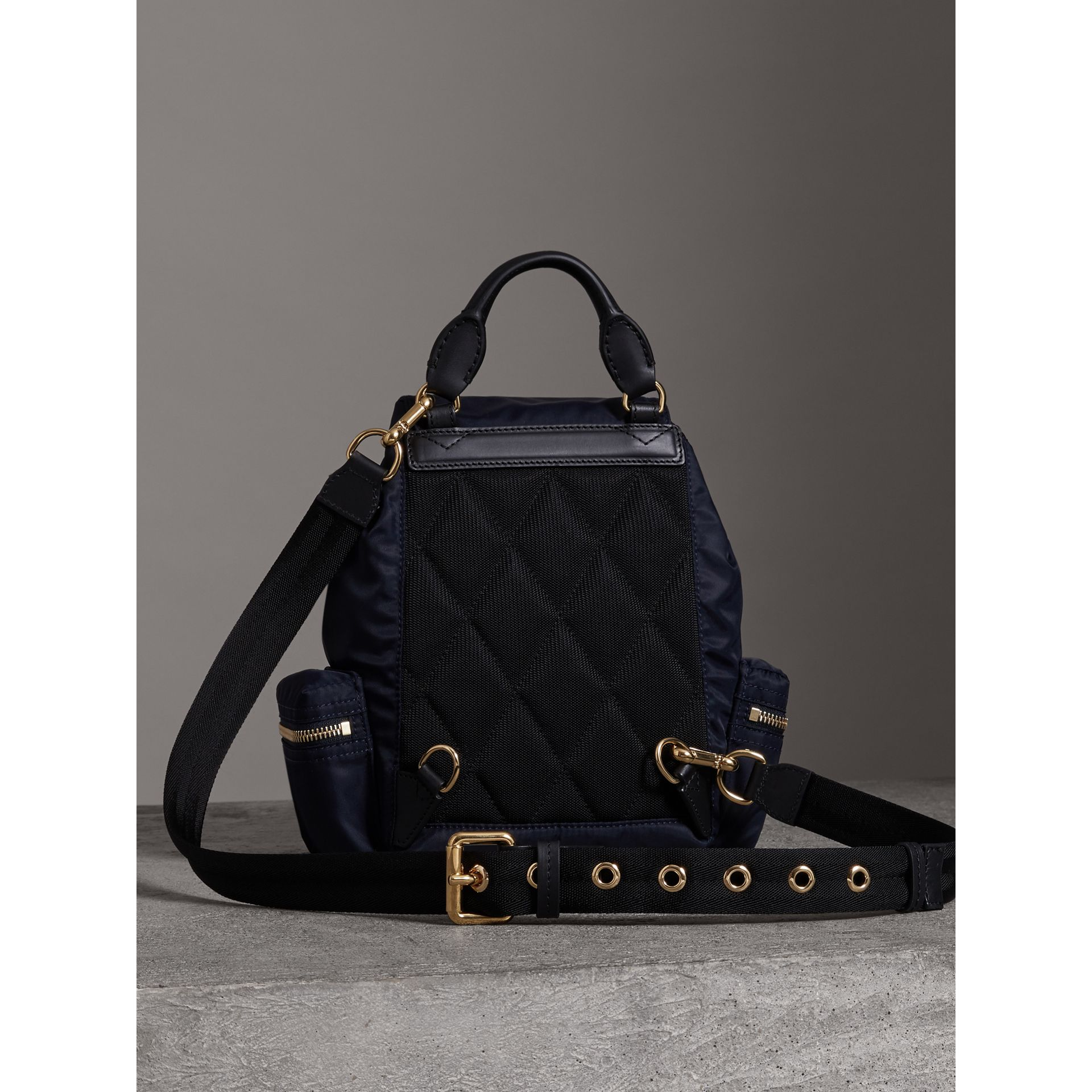 The Crossbody Rucksack in Nylon and Leather in Ink Blue - Women | Burberry - gallery image 6